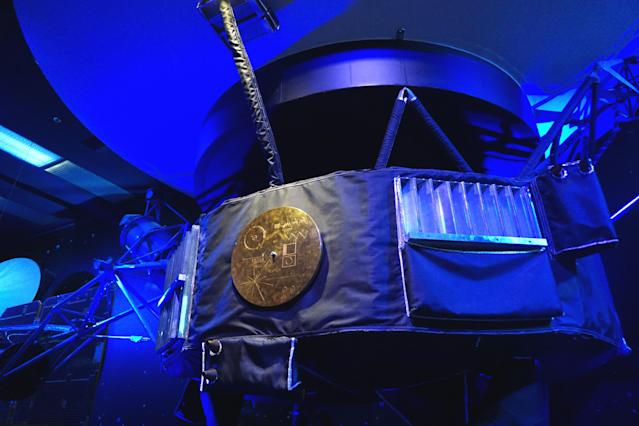 The Voyager Golden Records are displayed to visitors at NASA'S Jet Propulsion Laboratory in Pasadena, California (Anadolu Agency/Getty Images)