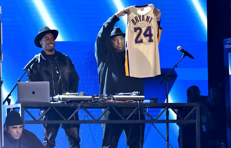 Run-D.M.C. pay tribute to the late Kobe Bryant onstage during the 62nd Annual Grammy Awards at the Staples Center. (Photo: Jeff Kravitz/FilmMagic)