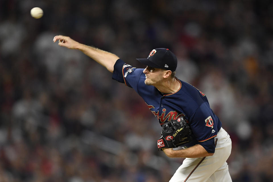 MINNEAPOLIS, MINNESOTA - OCTOBER 07: Jake Odorizzi #12 of the Minnesota Twins throws a pitch against the New York Yankees in the first inning of game three of the American League Division Series at Target Field on October 07, 2019 in Minneapolis, Minnesota. (Photo by Hannah Foslien/Getty Images)