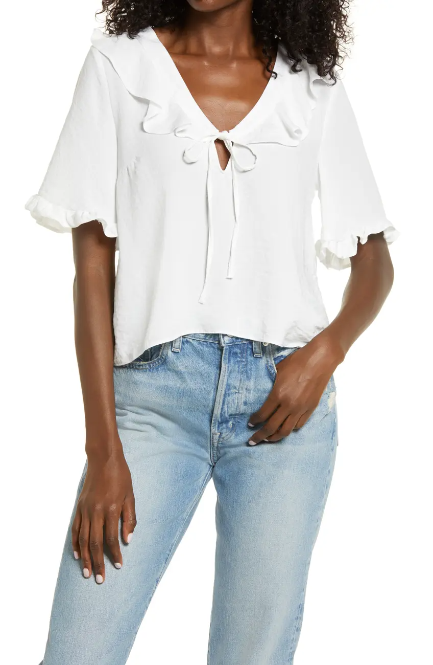 "<br><br><strong>Topshop</strong> Maisie Frill Keyhole Blouse, $, available at <a href=""https://go.skimresources.com/?id=30283X879131&url=https%3A%2F%2Fwww.nordstromrack.com%2Fs%2Ftopshop-maisie-frill-keyhole-blouse%2Fn3410919"" rel=""nofollow noopener"" target=""_blank"" data-ylk=""slk:Nordstrom Rack"" class=""link rapid-noclick-resp"">Nordstrom Rack</a>"