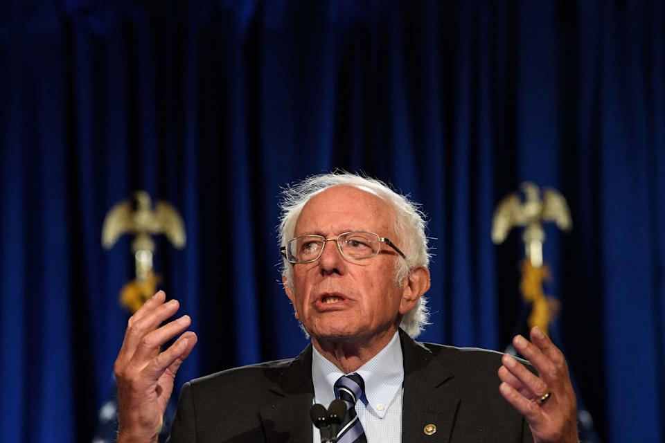 """US Senator Bernie Sanders, Independent of Vermont, speaks at George Washington University in Washington, DC, on September 24, 2020. - Sanders warned that the US faces an """"unprecedented and dangerous moment,"""" as US President Donald Trump questions the legitimacy of mail-in ballots and suggests he might not accepts the election results. (Photo by NICHOLAS KAMM / AFP) (Photo by NICHOLAS KAMM/AFP via Getty Images)"""