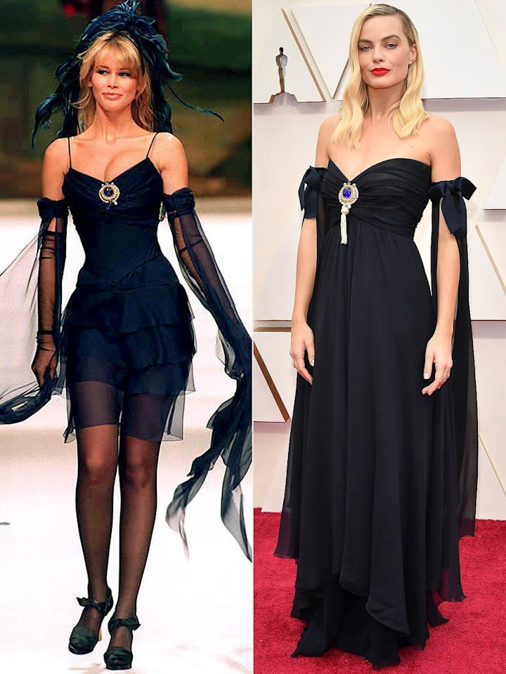 """The <em>Bombshell</em> star brought vintage glamour to the Oscars red carpet with her 1994 Chanel Couture dress. But you won't find pictures of her exact ensemble on the fashion house's runway because it's actually a hybrid of two dresses from the 1994 collection — and one was actually modeled by Claudia Schiffer.  """"We were obsessed with '90s supermodels for hair and makeup, so there was something really great about the dress being worn by Claudia Schiffer because she was our inspiration,"""" stylist <a href=""""https://people.com/style/oscars-2020-margot-robbie-oscars-red-carpet/"""">Kate Young told PEOPLE</a> ahead of Sunday night's show. """"It's classic, but has a dramatic feel that is good for the Oscars."""""""