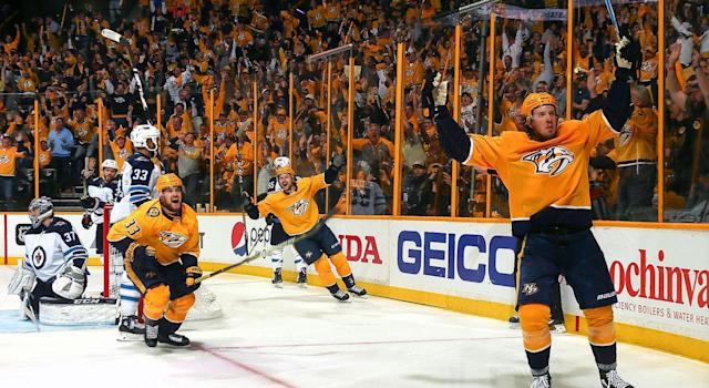 Jets-Predators has been a reminder of why we put up with the NHL at all. (Getty)