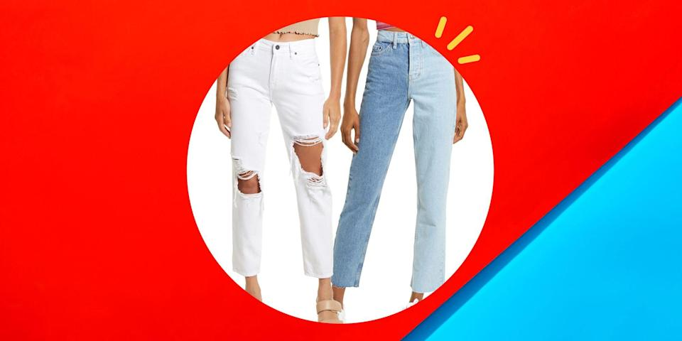 """<p>A good pair of boyfriend jeans is a timeless closet staple. They're the Goldilocks of denim. For the times skinny jeans are too fitted and flared jeans aren't giving you the shape you're looking for, boyfriend (and girlfriend!) jeans are <em>just</em> right. With baggier denim fits being trendier than ever right now, there are tons of different style options, and they'll all go with pretty much any top in your closet.</p><p>Depending on the style, boyfriend jeans can be dressed up or down, too. You can pair some white ones with wedges and a tank for a chic summer look or some trendy patchwork boyfriend jeans with your fave crop top and <a href=""""https://www.womenshealthmag.com/fitness/a35699671/womens-health-2021-sneaker-awards/"""" rel=""""nofollow noopener"""" target=""""_blank"""" data-ylk=""""slk:sneakers"""" class=""""link rapid-noclick-resp"""">sneakers</a> for a low-key vibe. For the times you're feeling bold, there's even a pair of sexy <a href=""""https://go.redirectingat.com?id=74968X1596630&url=https%3A%2F%2Fwww.asos.com%2Fus%2Fasos-design%2Fasos-design-leather-look-pants-in-black%2Fprd%2F23151344%3Faffid%3D25902%26_cclid%3DGoogle_Cj0KCQjw6NmHBhD2ARIsAI3hrM08PG2rLEfyvl9pBB0U2gI3xY3FHP0r77QnsFkCChcq-0KHKslgi-oaAlkfEALw_wcB%26channelref%3Dproduct%2Bsearch%26mk%3Dabc%26ppcadref%3D11302983040%257C111197600375%257Cpla-294680686006%26cpn%3D11302983040%26gclid%3DCj0KCQjw6NmHBhD2ARIsAI3hrM08PG2rLEfyvl9pBB0U2gI3xY3FHP0r77QnsFkCChcq-0KHKslgi-oaAlkfEALw_wcB%26gclsrc%3Daw.ds&sref=https%3A%2F%2Fwww.womenshealthmag.com%2Flife%2Fg37080961%2Fbest-boyfriend-jeans%2F"""" rel=""""nofollow noopener"""" target=""""_blank"""" data-ylk=""""slk:leather boyfriend jeans"""" class=""""link rapid-noclick-resp"""">leather boyfriend jeans</a> out there.</p><p>Whatever your denim style may be, boyfriend jeans are bound to become the item in your wardrobe that you reach for at least several times a week. After all, they come in a variety of washes, prints, price points, and leg styles (flare, wide, tapered, cropped, etc.) to match your idea"""