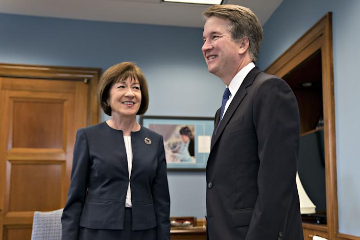Brett Kavanaugh speaks to Sen. Susan Collins (R-Maine) in an Aug. 21 meeting.  (Photo: Bloomberg via Getty Images)