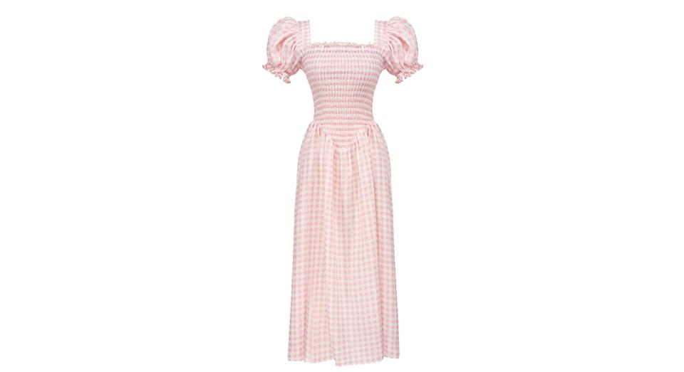 Belle Linen Dress in Pink Vichy
