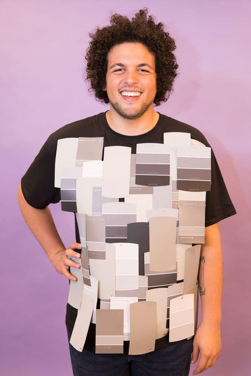 <p>Got a bunch of gray paint swatches? Got a plain T-shirt? Then it looks like you've got yourself a punny costume!<br></p>