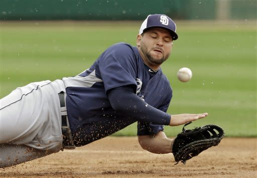 San Diego Padres first baseman Yonder Alonso can't catch a grounder by Chicago White Sox's Blake Tekotte that went for a single in the first inning of a spring training baseball game Friday, March 8, 2013, in Glendale, Ariz. The game was postponed by rain after three innings. (AP Photo/Mark Duncan)