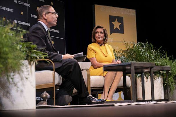 PHOTO: Speaker of the House Nancy Pelosi speaks with Texas Tribune CEO Evan Smith during a panel at The Texas Tribune Festival Sept. 28, 2019, in Austin, Texas. (Sergio Flores/Getty Images)