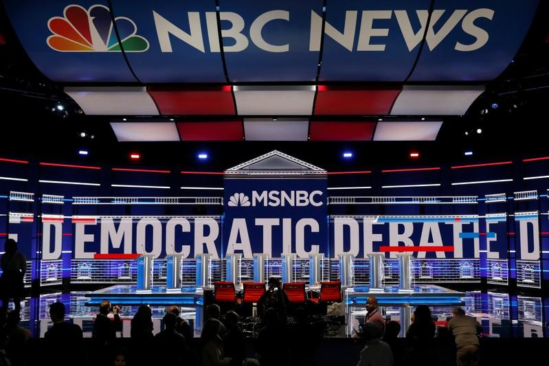 The set and ten podiums for the U.S. Democratic presidential candidates debate are seen the day before the debate at the Tyler Perry Studios in Atlanta, Georgia