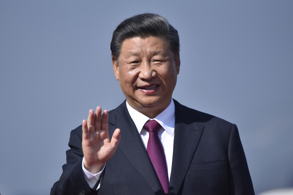 Chinese President Xi Jinping wave his hand as returned home after completing the two-day state visit of Nepal on Sunday, October 13, 2019. (Photo by Narayan Maharjan/NurPhoto via Getty Images)