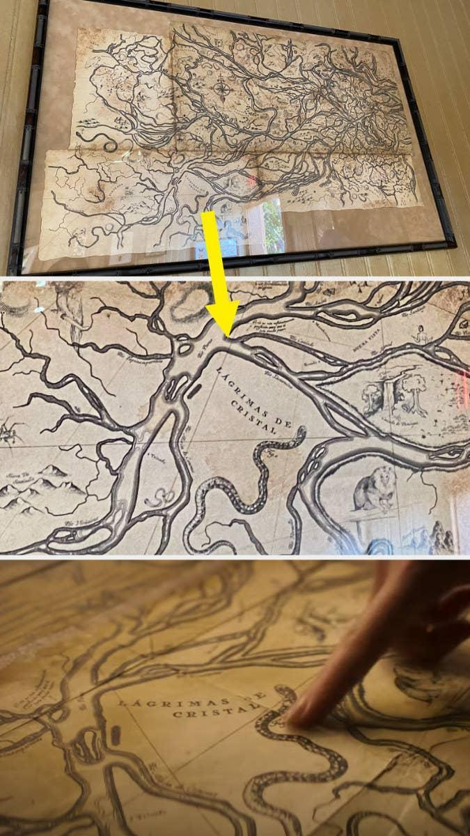 Ancient looking map in a frame compared to a closeup from the movie showing a snaking river