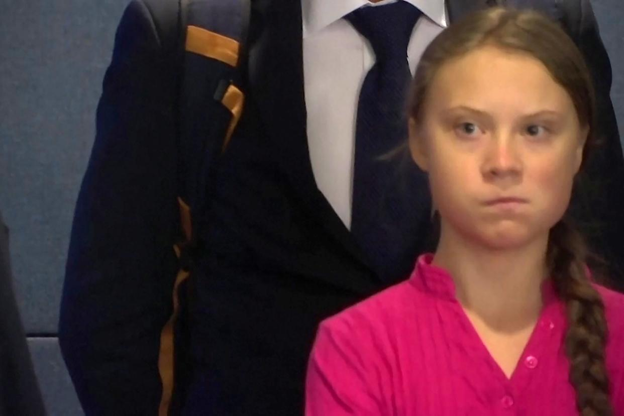 Greta Thunberg was caught on camera glaring at Donald Trump (Picture: Reuters)
