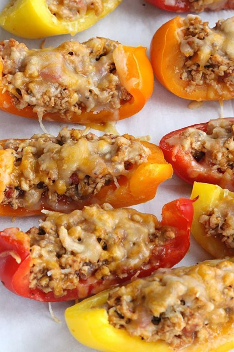 "<p><span class=""redactor-invisible-space"">Substitute tortilla chips for bell peppers, and you get the same delicious ingredients lathered on a healthy, nutrient-rich base.</span></p><p><strong>Get the recipe at <a href=""http://skinnyms.com/skinny-bell-pepper-nachos-recipe/"" rel=""nofollow noopener"" target=""_blank"" data-ylk=""slk:Skinny Ms"" class=""link rapid-noclick-resp"">Skinny Ms</a>.</strong></p>"