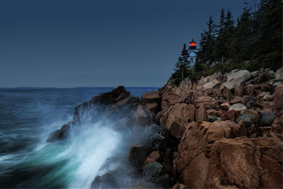 <p>Waves crash upon the bluff at Acadia National Park, Maine // October 10, 2010</p>