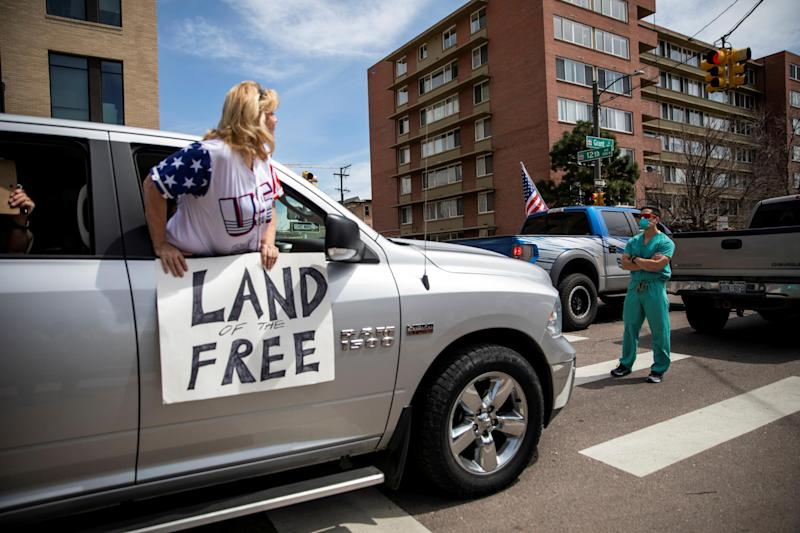 Operation Gridlock protests across the US dismiss scale of crisis and call for governments to 'reopen' amid unprecedented jobless claims