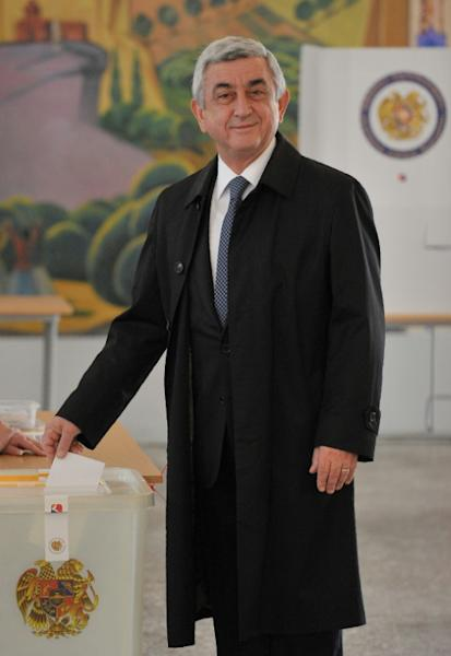 President Serzh Sarkisian casts his ballot -- Armenians have voted in the first parliamnetary election since 2015 constitutional reforms