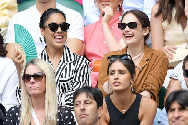 Tessa Thompson and Ruth Wilson attend day seven of the Wimbledon Tennis Championships at the All England Lawn Tennis and Croquet Club on Monday in London.