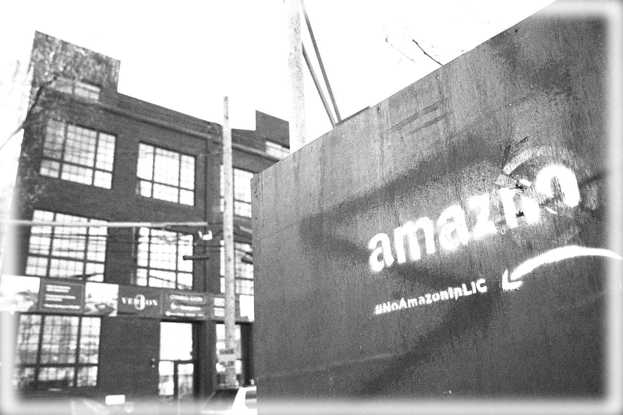A 2019 protest against Amazon, Long Island City, N.Y. (Photo: Drew Angerer/Getty Images; digitally enhanced by Yahoo News)