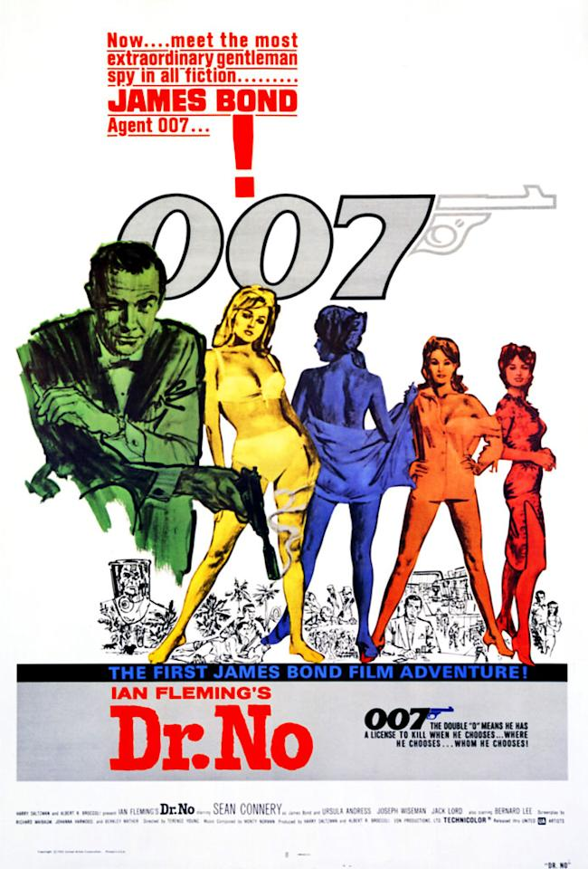 "<a href=""http://movies.yahoo.com/movie/dr-no/"">DR. NO</a> (1962)<br>This was the first Bond movie, and it set the template for both the films and the posters to follow. Namely: Bond, guns, women, bikinis. The illustration style seems a little crude by today's standards, but the ""007"" logo remains virtually unchanged five decades later."