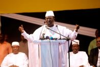 FILE PHOTO: Soumaila Cisse, leader of opposition party URD speaks during protest against what they say were vote count irregularities in Bamako