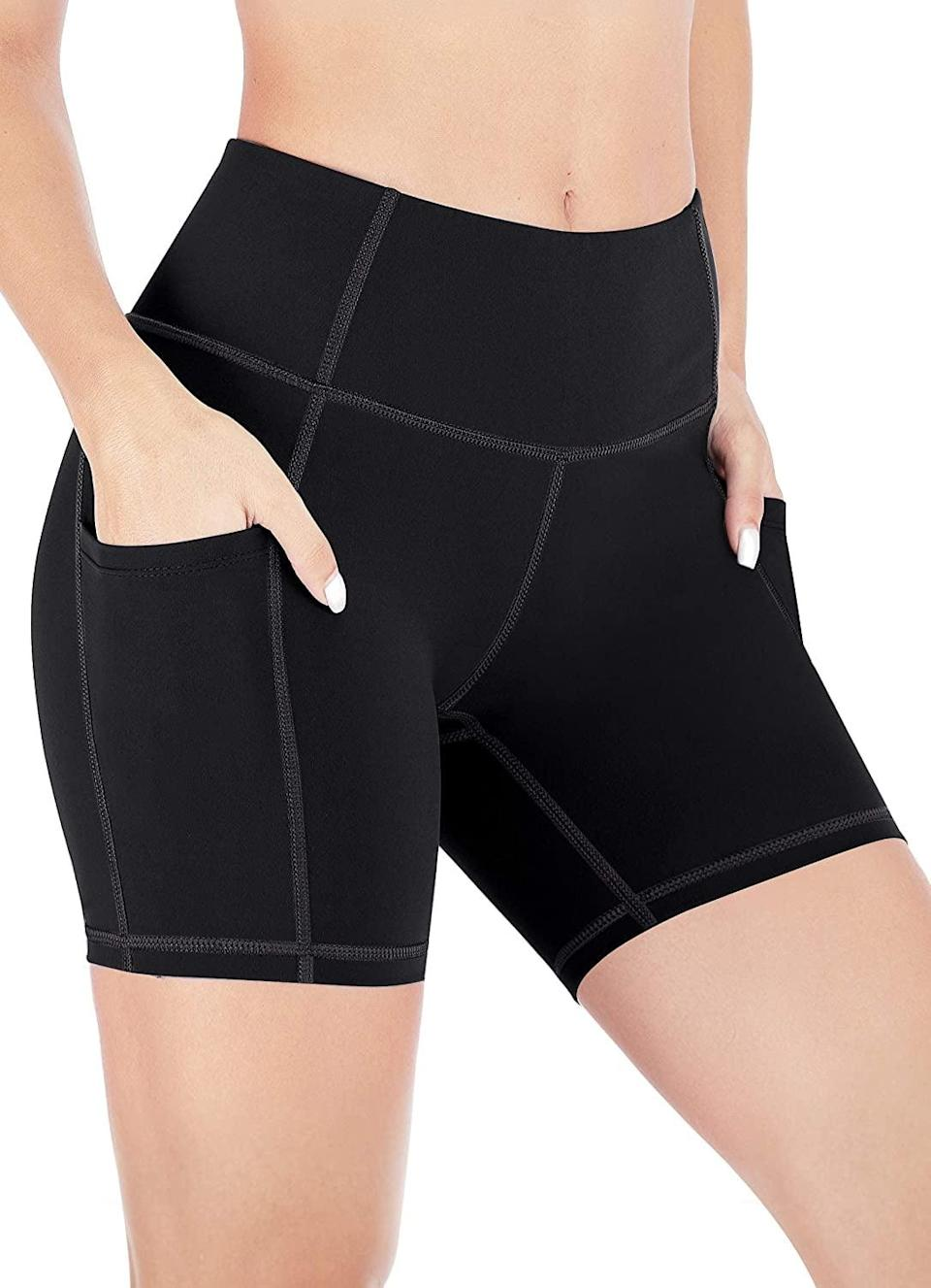 <p>These <span>Heathyoga Biker Shorts With Pockets</span> ($18, originally $25) are short, but we like the length. It's not often that shorts this short have pockets, so we're stocking up. They also come in a bunch of colors.</p>