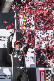 Simon Pagenaud celebrates after winning the Honda Indy Grand Prix of Alabama at Barber Motorsports Park on April 24, 2016. (Photo by Brian Cleary/Getty Images)