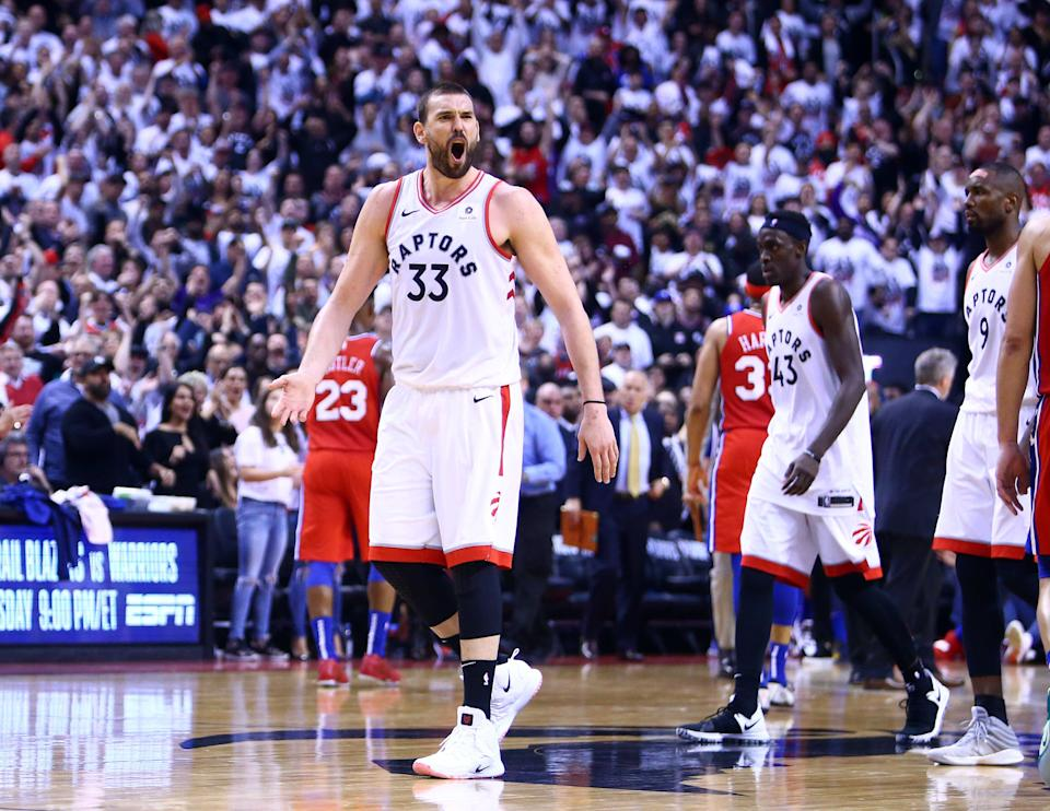 TORONTO, ON - MAY 12:  Marc Gasol #33 of the Toronto Raptors reacts during Game Seven of the second round of the 2019 NBA Playoffs against the Philadelphia 76ers at Scotiabank Arena on May 12, 2019 in Toronto, Canada.  NOTE TO USER: User expressly acknowledges and agrees that, by downloading and or using this photograph, User is consenting to the terms and conditions of the Getty Images License Agreement.  (Photo by Vaughn Ridley/Getty Images)