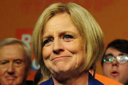 Alberta New Democratic (NDP) leader and Premier Rachel Notley reacts to her loss at her election night party in Edmonton, Alberta, Canada, April, 16, 2019. REUTERS/Candace Elliott