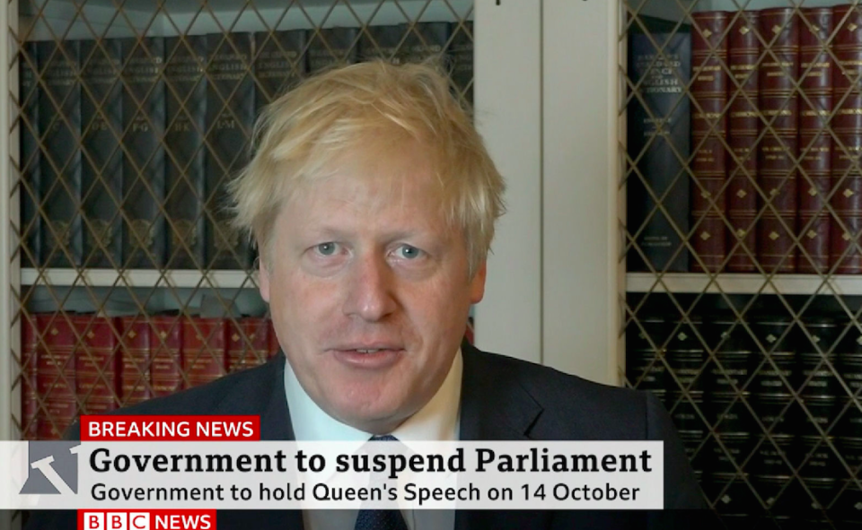 """Prime Minister Boris Johnson making a statement in which he said that it is """"completely untrue"""" he will be holding a Queen'ss Speech on October 14 because of Brexit (Picture: BBC/PA)"""