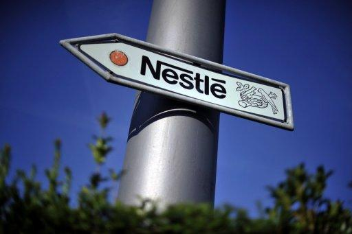 Nestle's logo on a road sign near the company headquarters on August 10, 2011 in Vevey, Switzerland