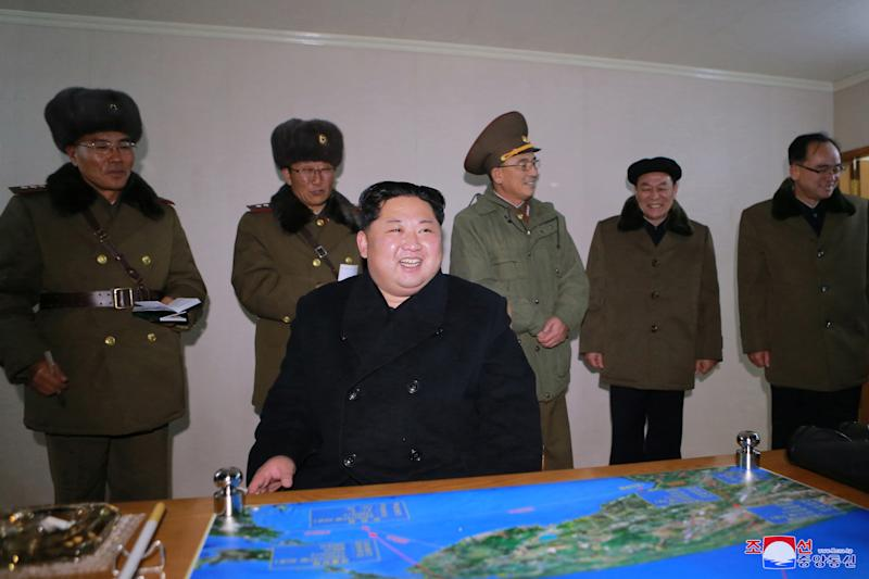 Kim Jong Un after North Korea's newly developed ICBM was successfully test-launched. (KCNA/ Reuters)