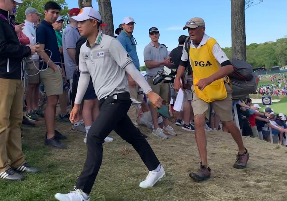 Jazz Janewattananond is in contention at the PGA Championship thanks to his caddy, Jack Miller. (Yahoo Sports)