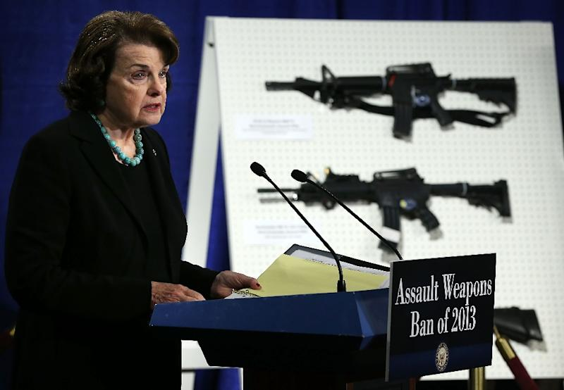 US Senator Dianne Feinstein speaks at an event to appeal for the renewal of a ban on assault weapons