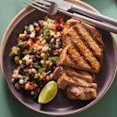 <p>This hearty bean salad is packed with vibrant colors and contrasting textures. Center-cut boneless pork chops (also called pork cutlets), make a convenient and economical protein to round out the meal. This recipe makes one extra cutlet, which can be refrigerated for another use (see Associated Recipe).</p>