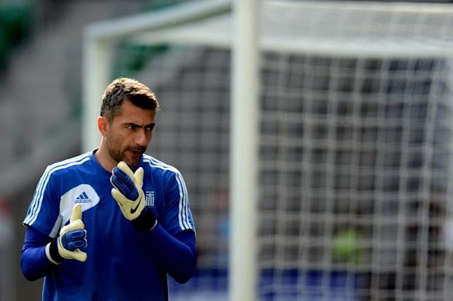 Greece's goalkeeper Kostas Chalkias attends a training session in Wroclaw on June 11, 2012, on the eve of their Euro 2012 football championships match against the Czech Republic