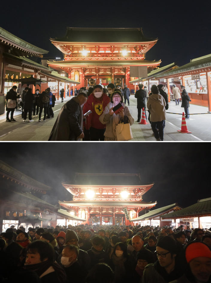 This combination image of photos shows people, top, on Thursday, Dec. 31, 2020, visiting to pray at Sensoji temple in Tokyo a few hours before New Year and the same location, bottom, filled with people waiting in line to pray on Jan. 1 last year. As the world says goodbye to 2020, there will be countdowns and live performances, but no massed jubilant crowds in traditional gathering spots like the Champs Elysees in Paris and New York City's Times Square this New Year's Eve. The virus that ruined 2020 has led to cancelations of most fireworks displays and public events in favor of made-for-TV-only moments in party spots like London and Rio de Janeiro. (AP Photo/Jae C. Hong, Hiro Komae)
