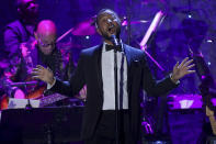 John Legend performs on stage at the Pre-Grammy Gala And Salute To Industry Icons at the Beverly Hilton Hotel on Saturday, Jan. 25, 2020, in Beverly Hills, Calif. (Photo by Willy Sanjuan/Invision/AP)