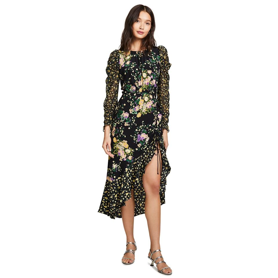 """If the weather allows it, this floral midi dress with <a href=""""https://www.glamour.com/gallery/statement-sleeve-tops?mbid=synd_yahoo_rss"""">long puff sleeves</a> is just right for a (heated) garden wedding during the day, or you can pair it with velvet heels and semisheer tights for evening. $280, Shopbop. <a href=""""https://www.shopbop.com/ross-midi-dress-love-lemons/vp/v=1/1502729076.htm?"""">Get it now!</a>"""