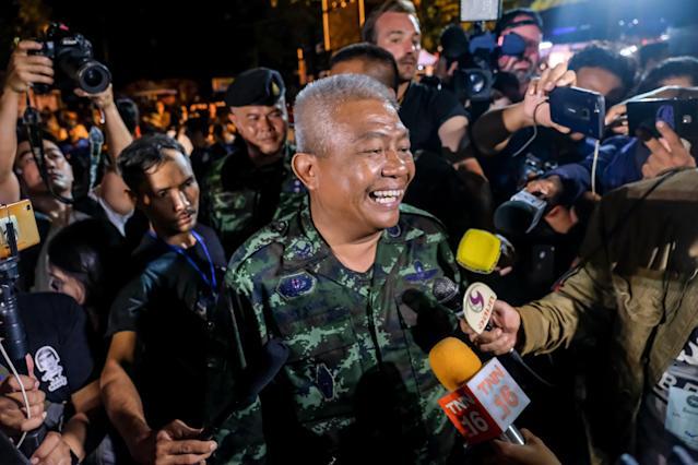 <p>Gen. Bancha Duriyaphan talks to the press after 12 boys and their soccer coach were found alive in the cave where they'd been lost for over a week after monsoon rains blocked the main entrance. The photo was taken on July 02, 2018, in Chiang Rai, Thailand. (Photo: Linh Pham/Getty Images) </p>