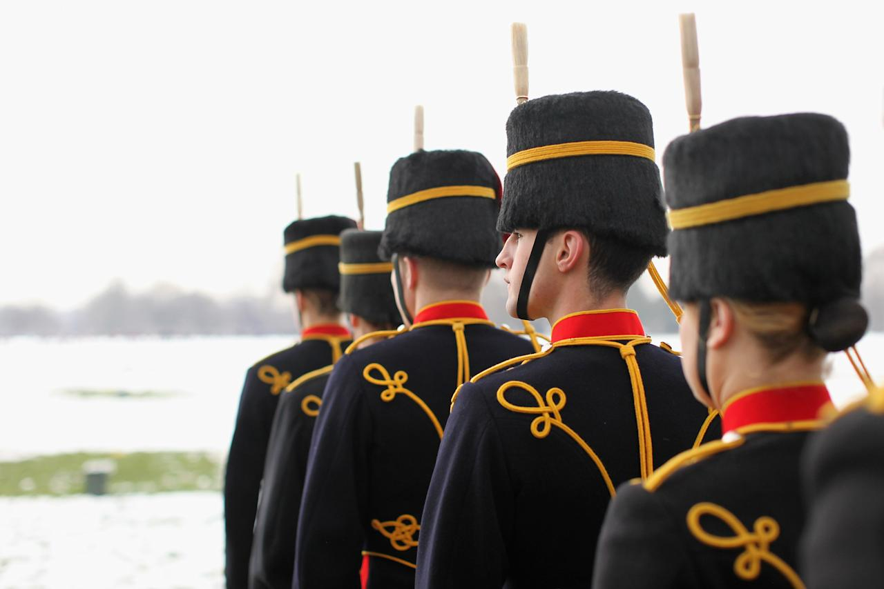 LONDON, ENGLAND - FEBRUARY 06:  Members of the King's Troop Royal Horse Artillery prepare to fire a 41 gun salute in Hyde Park to mark the 60 anniversary of the accession of Her Majesty Queen Elizabeth II on February 6, 2012 in London, England.  The 41 gun salute also signifies the official start to the celebrations for the Queen's Diamond Jubilee and comes after the King's Troop left their barracks in St John's Wood for the final time. The King's Troop Royal Horse Artillery will relocate from their North London barracks, where they have been based since their formation by King George VI in 1947, to a purpose-built equestrian site in Woolwich.  (Photo by Oli Scarff/Getty Images)