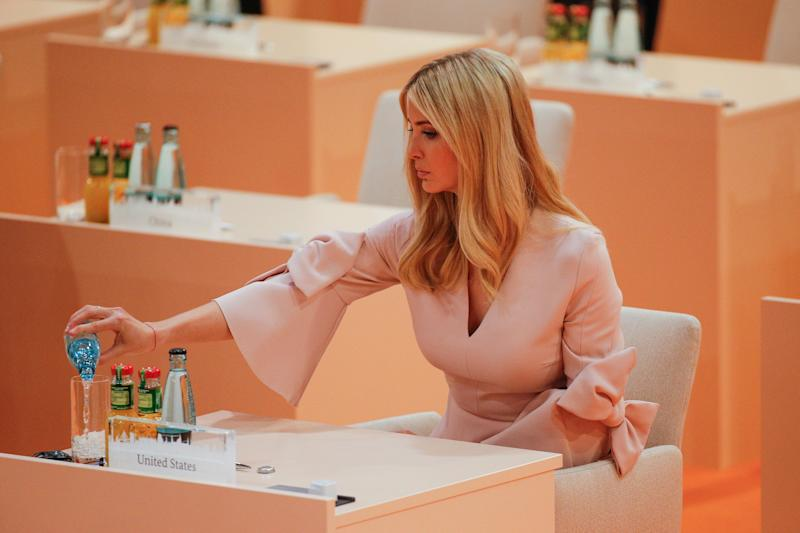 Ivanka Trump at the G20 summit in Hamburg, Germany, wearing the dress that inspired Jennifer Rubell, July 2017.