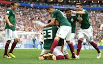 <p>Hirving Lozano of Mexico celebrates with teammates by sliding on his knees after scoring his team's first goal during the 2018 FIFA World Cup Russia group F match between Germany and Mexico at Luzhniki Stadium on June 17, 2018 in Moscow, Russia. (Photo by David Ramos – FIFA/FIFA via Getty Images) </p>
