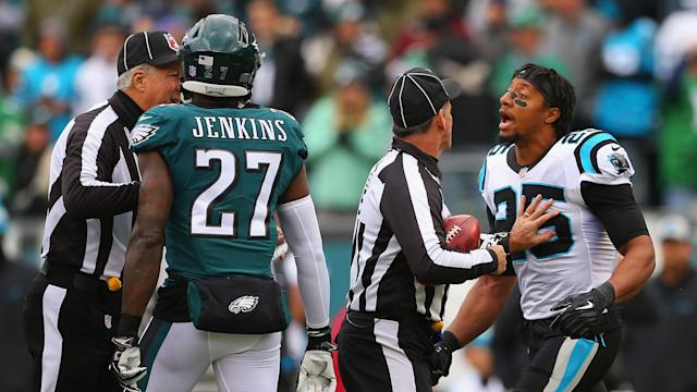 Eric Reid and Malcolm Jenkins had to be separated ahead of last week's Panthers-Eagles game. (Getty)