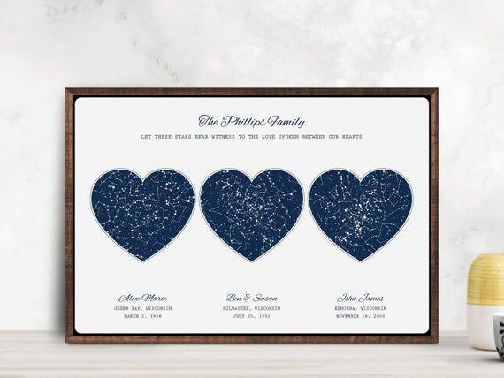 """<p><strong>OurLoveWasBorn</strong></p><p>etsy.com</p><p><strong>$34.00</strong></p><p><a href=""""https://go.redirectingat.com?id=74968X1596630&url=https%3A%2F%2Fwww.etsy.com%2Flisting%2F595037693%2F3-location-star-map-constellation-chart&sref=https%3A%2F%2Fwww.goodhousekeeping.com%2Fholidays%2Fgift-ideas%2Fg29263705%2Fbest-family-gifts%2F"""" rel=""""nofollow noopener"""" target=""""_blank"""" data-ylk=""""slk:Shop Now"""" class=""""link rapid-noclick-resp"""">Shop Now</a></p><p>It's not just a <a href=""""https://www.goodhousekeeping.com/holidays/gift-ideas/g613/home-gifts/"""" rel=""""nofollow noopener"""" target=""""_blank"""" data-ylk=""""slk:decor gift"""" class=""""link rapid-noclick-resp"""">decor gift</a>, it holds special meaning to the family history. The constellations correspond with a specific date to commemorate a sentimental moment. You can even customize the colors and fonts to your liking.</p>"""