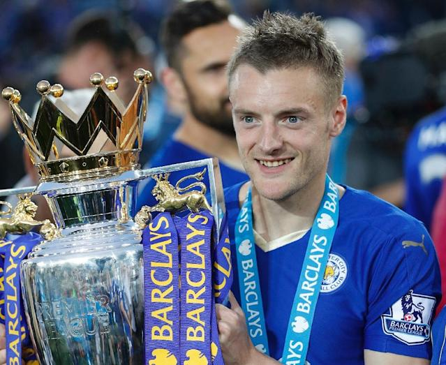 Leicester City's talisman Jamie Vardy, last season's 24-goal top scorer, has committed himself to the club with a new contract (AFP Photo/Adrian Dennis)