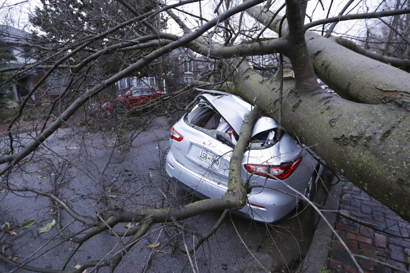A car crushed by a tree sits on a street after a tornado touched down in Nashville.