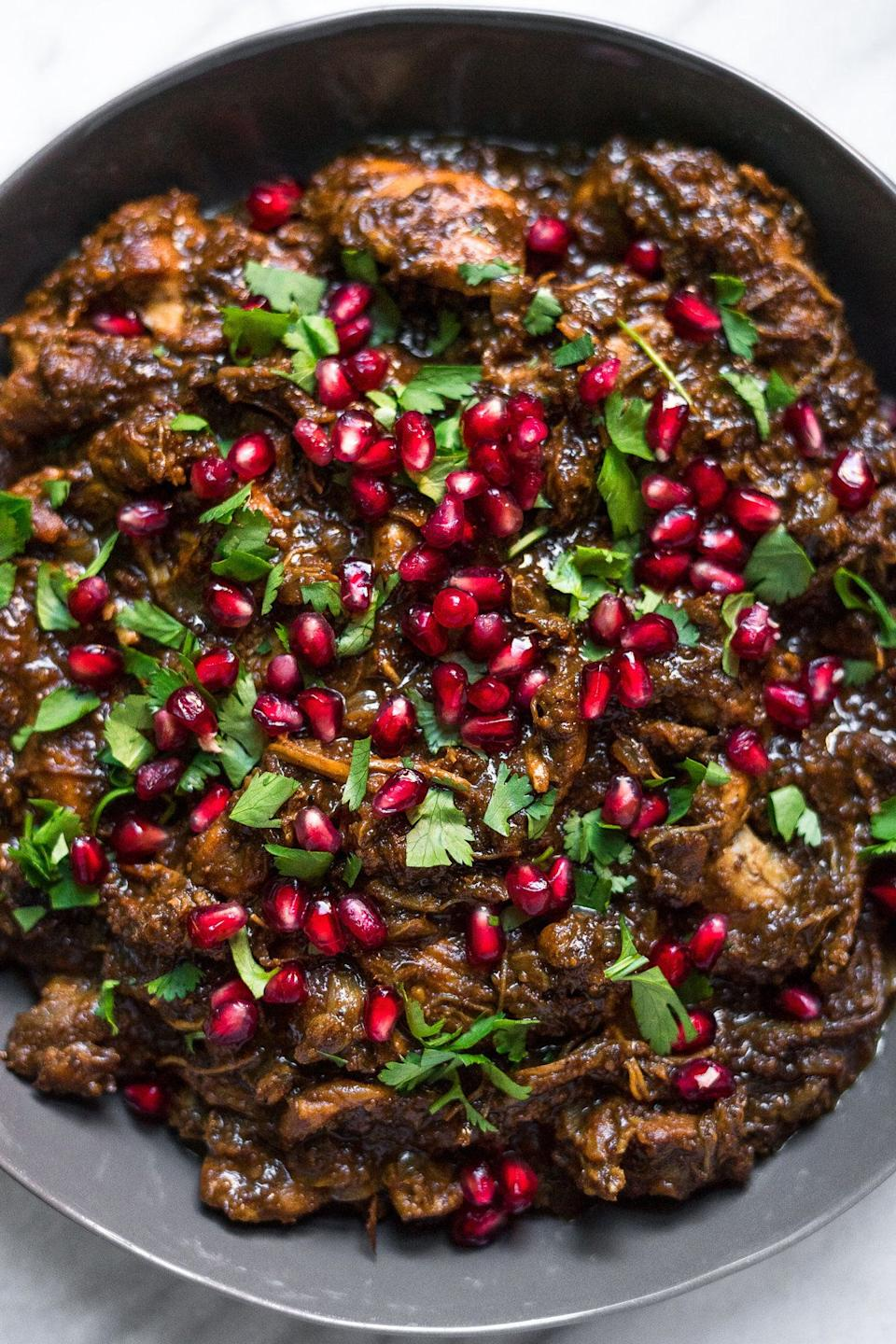 "<strong>Get the <a href=""http://acalculatedwhisk.com/instant-pot-fesenjan/"" rel=""nofollow noopener"" target=""_blank"" data-ylk=""slk:Instant Pot Fesenjan (Persian Pomegranate Chicken)"" class=""link rapid-noclick-resp"">Instant Pot Fesenjan (Persian Pomegranate Chicken)</a> recipe from A Calculated Whisk.</strong>"