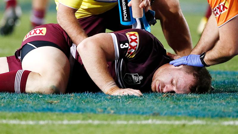 Michael Morgan was helped from the field after being knocked out in an accidental collision. Pic: Getty