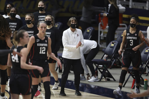 Stanford head coach Tara VanDerveer coaches against California during the first half of an NCAA college basketball game, Sunday, Dec. 13, 2020, in Berkeley, Calif. (AP Photo/Jed Jacobsohn)